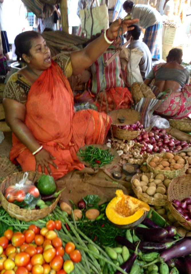 A stall at a vegetable bazaar in Kolkata.